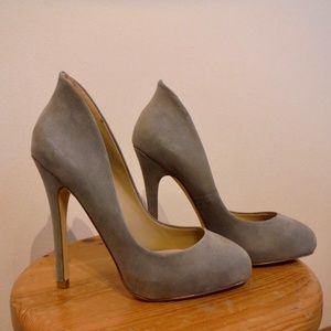 Grey Suede Leather Platform pumps heels from ALDO